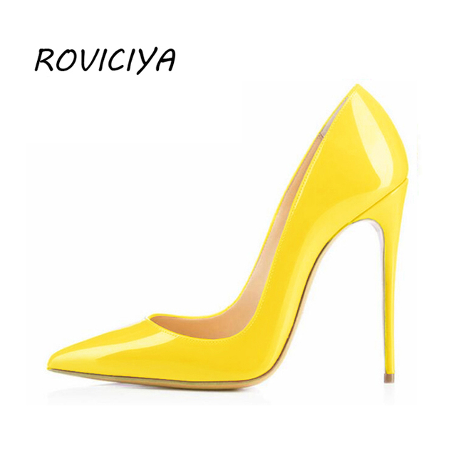 ab44a66b9129e US $30.6 49% OFF|Women Pumps Woman Shoes High Heel Pointed Toe Patent  Leather Valentine Shoes Yellow 12 cm Stiletto Ladies Shoes QP002  ROVICIYA-in ...