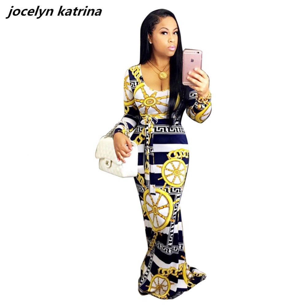 jocelyn katrina brand woman dresses autumn print cloth for women dress femme party night mujer long sleeve club dresses