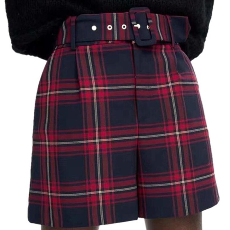 2019 Winter Women Red Plaid Shorts Self-Belted High Waist England Style Checkered Vintage Shorts
