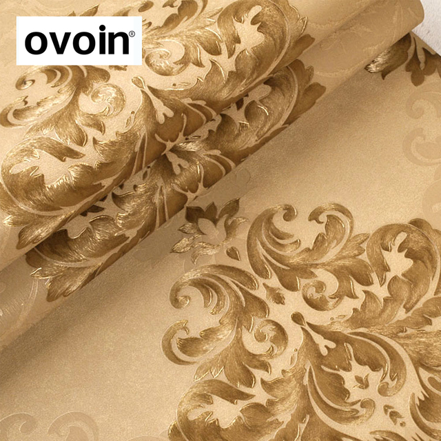 European Style Gold Brown Damask Wallpaper Metallic Embossed Texture Silver Grey Wall Paper