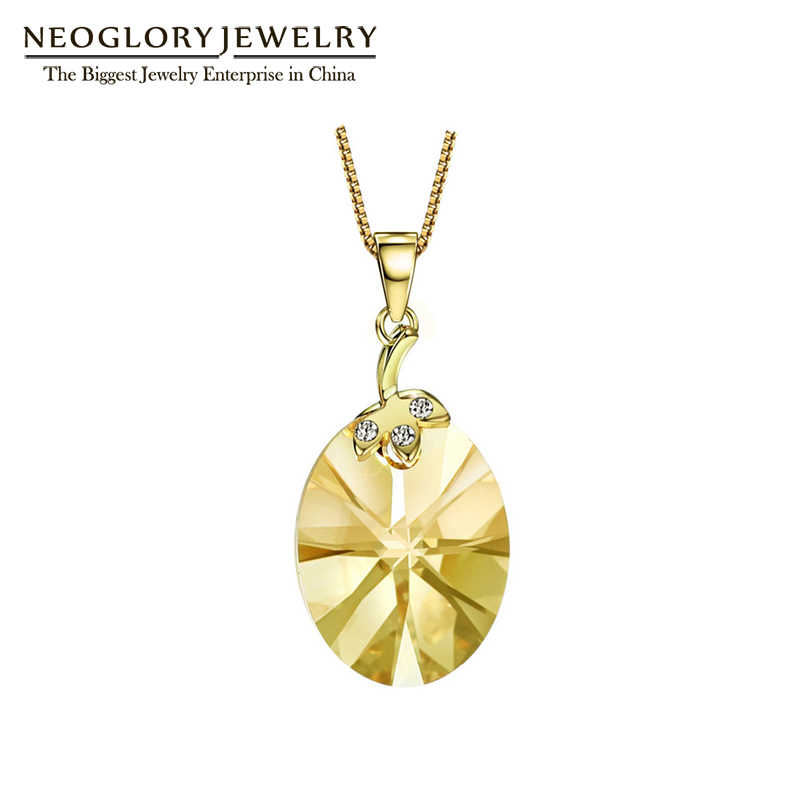 Neoglory Light Yellow Gold Color Austrian Crystal Cute Necklace Pendant Gifts for Girl 2018 New Birthstone Fashion Jewelry JS9