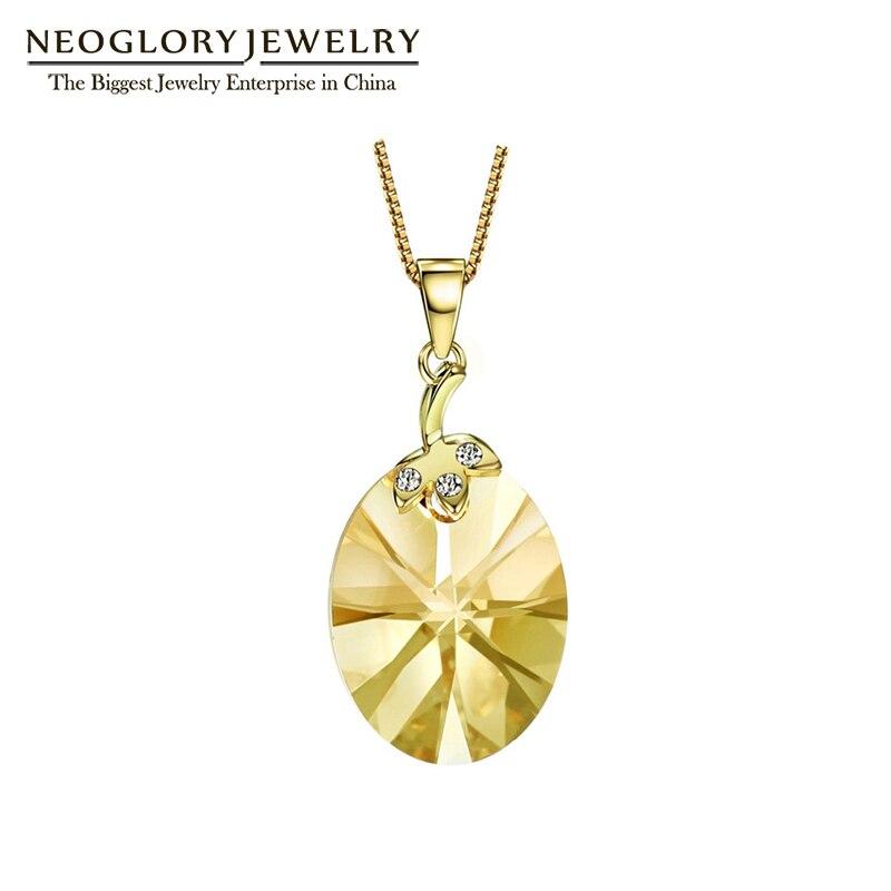 Neoglory Ouro Amarelo Claro Cor Cristal Austríaco Bonito Colar de Pingente de Presentes para a Menina 2018 Nova Pedra Moda Jóias JS9