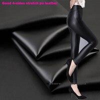 Хороший черный искусственная кожа Искусственная кожа ткани 4 стороны упругой яркий синтетической ткани кожи лоскутное шитье на брюки 69*50 см...