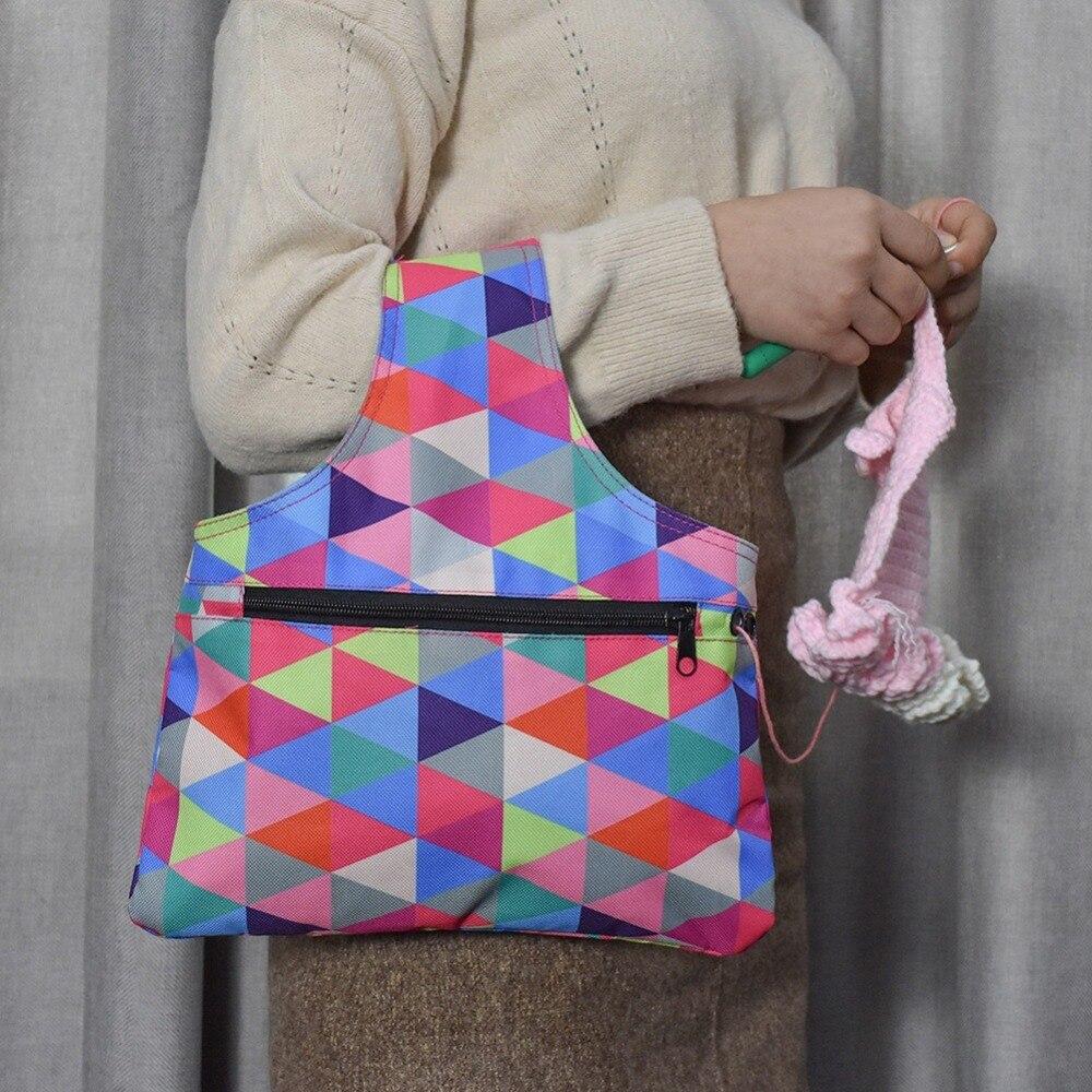 Portable Knitting Needle Storage Bag Oxford Cloth Waterproof Yarn Crochet Knit Bag DIY Craft Organizer For Thread Storage