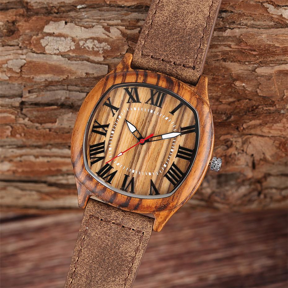 YISUYA Bamboo Wooden Watch Men Quartz Leather Band Analog Creative Watches Roman Numerals Dial Unqiue Shape Fashion Clock Gift (35)