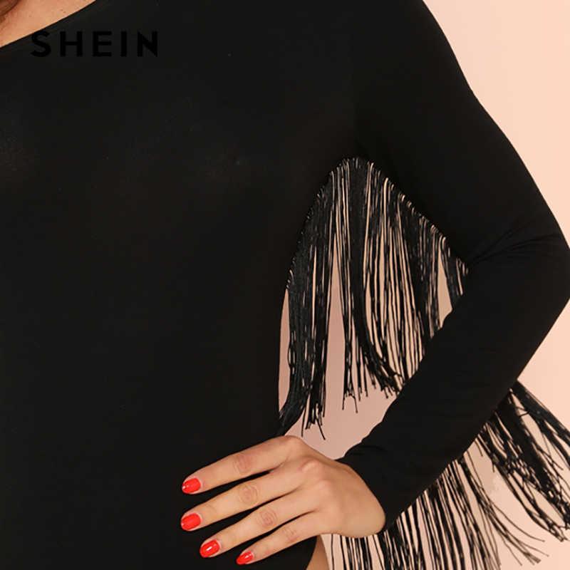 SHEIN черный сексуальный черный с бахромой отделка одно плечо с длинным рукавом Вечерние обтягивающие однотонный комбинезон летние женские хайстрит боди