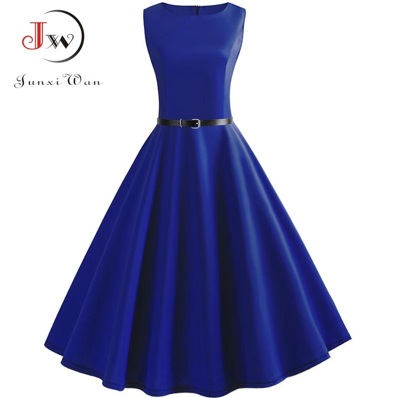 Blue Vintage Swing Dress Women  Summer Dot Summer Casual Midi Dresses Elegant Party Dress Vestido Tunic Plus Size Robe Femme