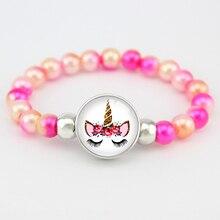 Бусины в виде единорога, очаровательные браслеты 18 мм, кнопки, Купольные Кабошоны, фламинго, модные браслеты для девушек и женщин, подарок ювелирной дружбы