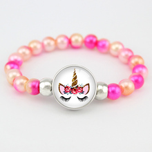 Unicorn Beads Charms Bracelets 18mm Snap Buttons Dome Cabochon Flamingos Trendy Girls Women Jewelry Friendship Gift