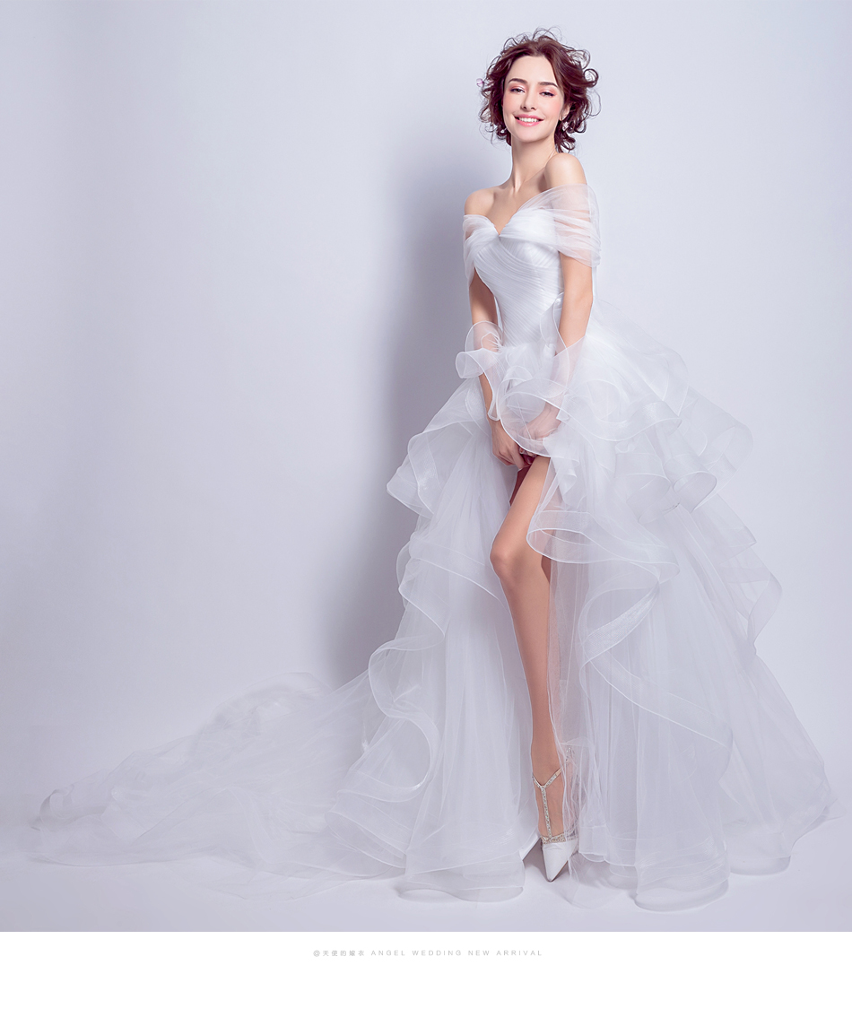 Angel Wedding Dress Marriage Evening Bride Party Prom Bridal Gown Vestido De Noiva 2017 Boat Neck asymmetrical7207 14