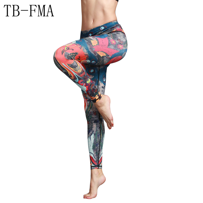 Yoga Leggings Pants Women New Mid Waist Fitness Training Leggings Printed Compression Sport Tights Yoga Stretch Fabric Sports trendy colorful printed high waist wide leg pants for women
