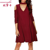 Casual Dresses For Woman 2016 Long Sleeve Spring Off Shoulder Dress Vintage Black Wine Red Army
