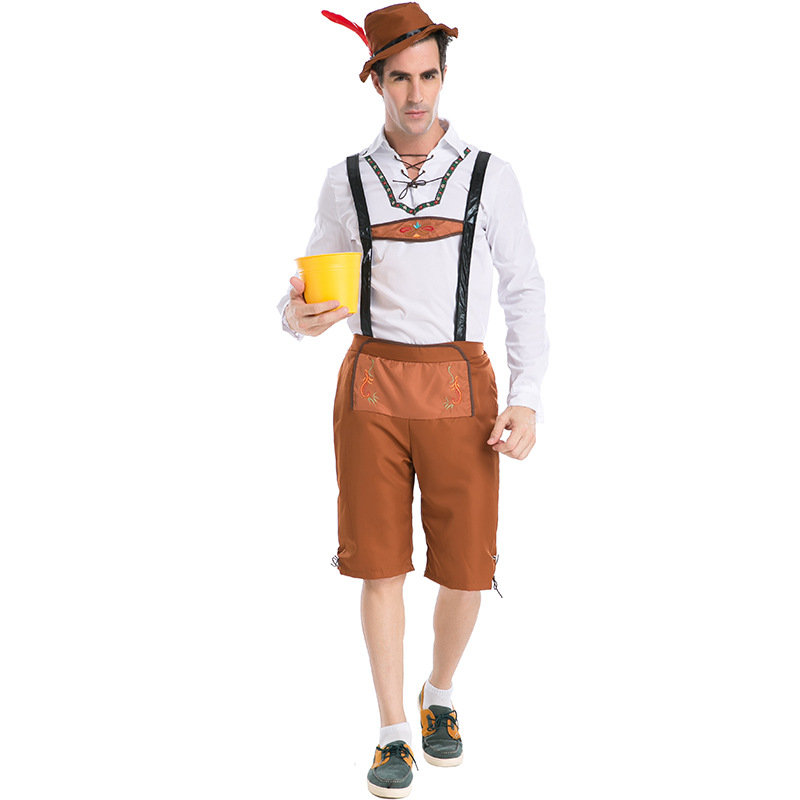 Adult Mens Brown Lederhosen Oktoberfest Costume With Hat