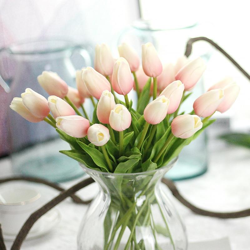 5db Pu Mini Tulip Virág Real Touch esküvői virág mesterséges selyem hamis virág olcsó otthoni esküvői dekoráció menyasszonyi virág