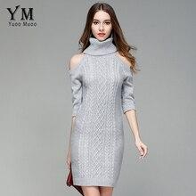 Yuoomuoo Европейский Для женщин пикантные однотонные с открытыми плечами вязаное платье с коротким рукавом Slim Mini пуловер свитер водолазка Bodycon Платья для женщин