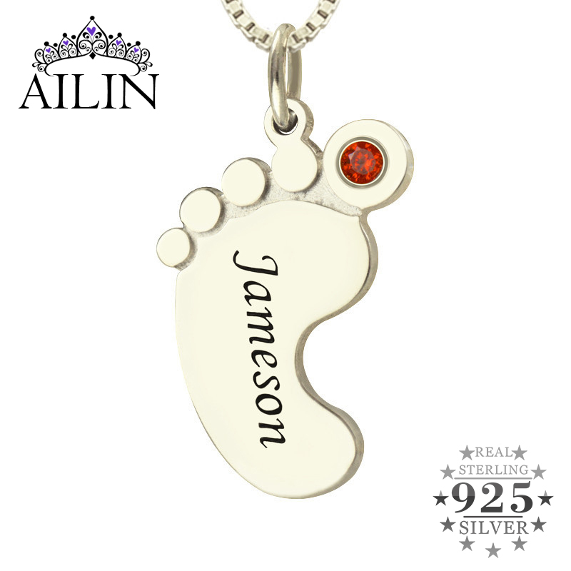 Wholesale Birthstone Necklace Baby Feet Necklace kids Name Mother Necklace Silver Celebrate Moms Children Name Christmas Gift