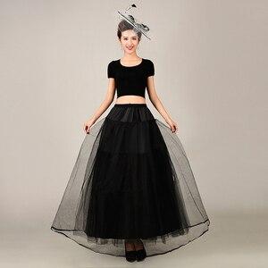 Image 2 - 2018 New Petticoat Long Tulle Skirts  Three Layers Womens  Underskirt For Wedding Dress White/Black