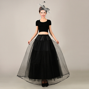 Image 2 - 2018 جديد ثوب نسائي طويل تول التنانير ثلاث طبقات إمرأة تحتية لفستان الزفاف الأبيض/الأسود