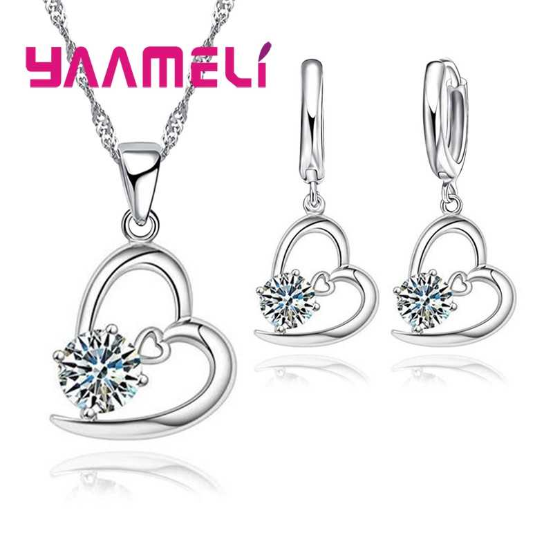 Горячая 925 пробы Серебряный свадебный набор украшений для женщин Сердце CZ Кристалл обручальные ожерелья серьги аксессуары