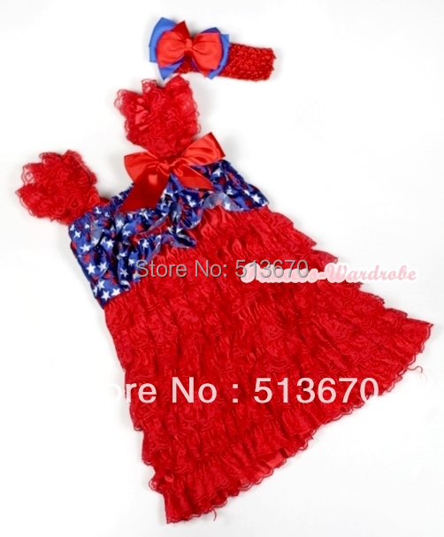 4th July Red Lace USA Star Cap Sleeve Red Rose Girl OnePiece Party Dress 1-5Year MARD007