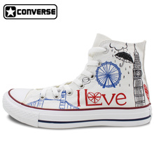 Women Men Converse Chuck Taylor UK London Landmark Big Ben Original Design Hand Painted Shoes Woman Man High Top Canvas Sneakers
