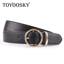 Women Men Belt Strap Round Buckle Faux Leather for Pants Jean Black Brown Pin For Man 2018