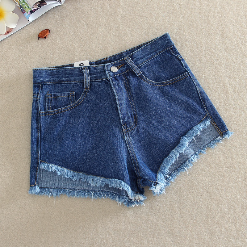 Summer Style Female High Waist Denim Tassel Shorts Women Ripped Tassel Hole Wide leg Jeans Shorts