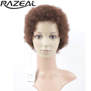 Afro Wigs Short Razeal-Products Synthetic-Hair Curly 2inch Brown Kinky Black Pruiken