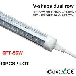 Rurka LED światła 6ft 180 cm 1800mm V kształt integracji 4ft 5ft 6ft 8 stóp T8 podwójny rurki LED fajne oświetlenie SMD2835 100LM/W AC85-265V