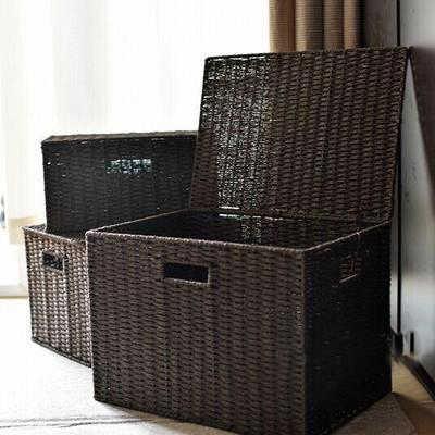Pasta and rattan weave storage basket Japanese style storage box magazine finishing box storage basket plus