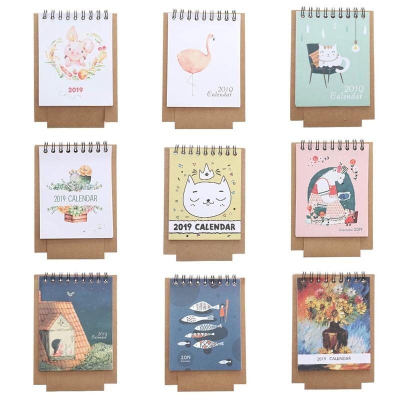 1 Pc Neue Jahr Papier Cartoon 2019 Kalender Schreibtisch Planer Zeitplan Tagebuch Büro Liefert Schreibwaren Attraktiv Und Langlebig