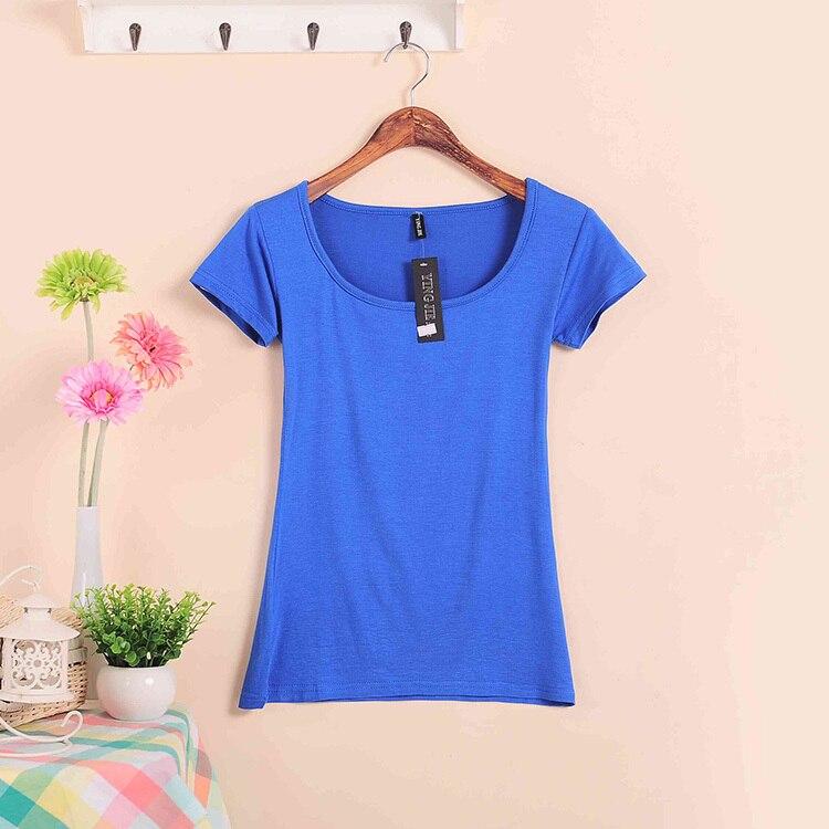 Базовые Стрейчевые топы размера плюс,, Летний стиль, короткий рукав, футболки для женщин, u-образный вырез, хлопок, женские футболки, повседневные футболки - Цвет: W00630 dark blue