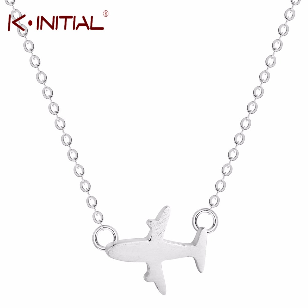 Kinitial Mini Airplane Necklace Accessories Unique Silver Color Aircraft Pendant Airliner Plane Necklace Fashion Women image
