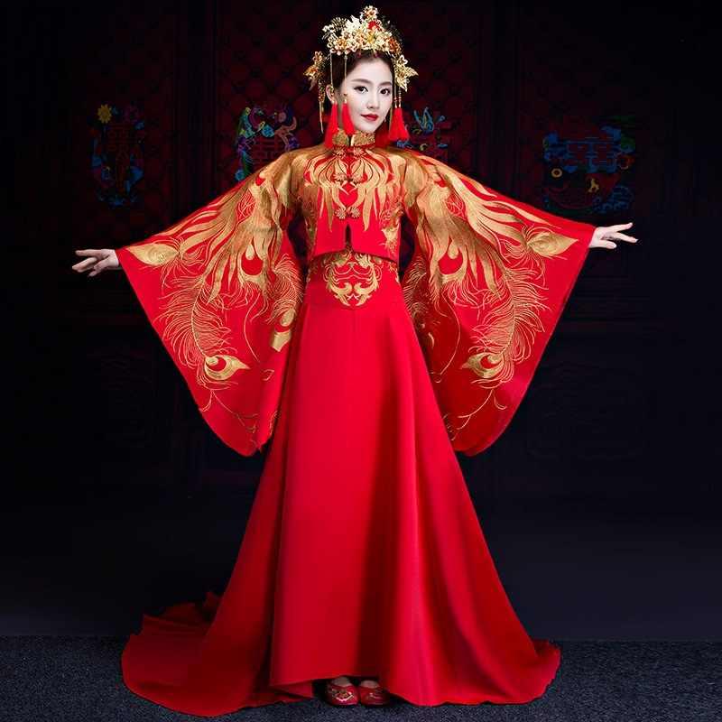 אדום ארוך רכבת סיני מסורתי חתונה שמלת נשים פניקס רקמת Cheongsam Qipao ערב שמלת סין הכלה מסורות