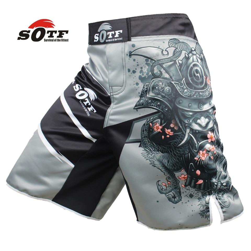 SOTF hommes de guerrier Japonais gris sport fitness angle pantalon Tiger Muay Thai short de boxe mma courte kickboxing boxeo pretorian