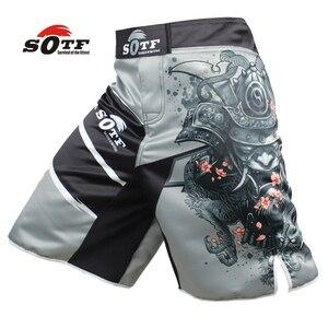 SOTF men's Japanese warrior gray sports fitness angle pants Tiger Muay Thai boxing shorts mma short kickboxing boxeo pretorian(China)
