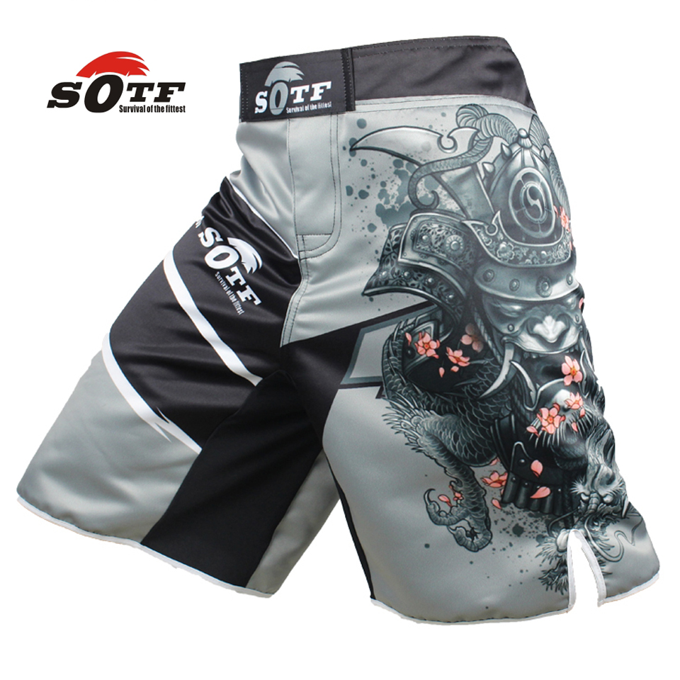 SOTF men's Japanese warrior gray sports fitness angle pants Tiger Muay Thai boxing shorts mma short kickboxing boxeo pretorian