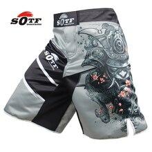 AL LIBRO de los hombres guerrero Japonés gris deportes de fitness pantalones ángulo Tiger Muay Thai pantalones cortos de boxeo mma kickboxing boxeo pretoriana
