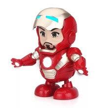 Dance hero Iron Man Action Figure Toys LED Flashlight with Sound spiderman Iron Man Captain America