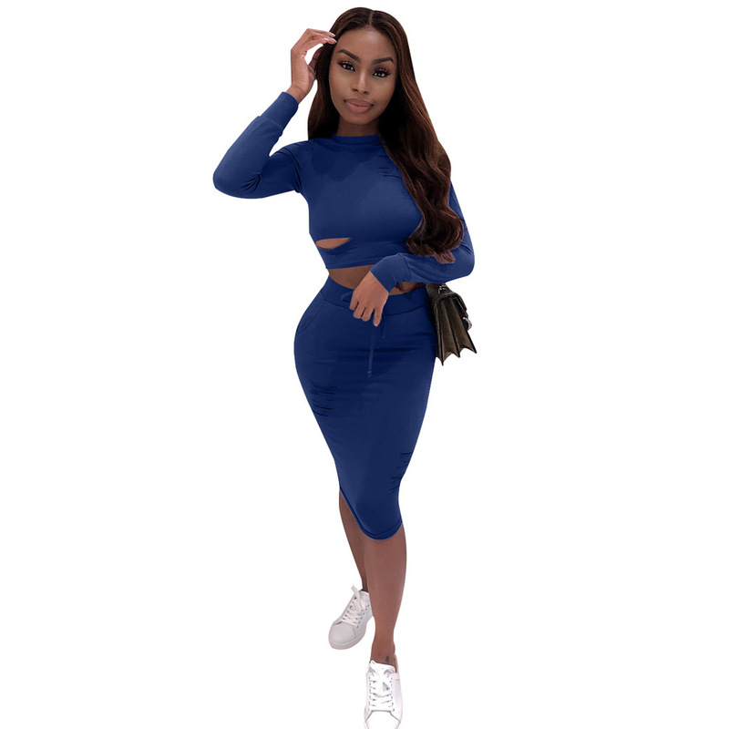 Hole Hollow Out Sexy 2 Piece Matching Set Women O Neck Long Sleeve Crop Top+Bandage Mini Skirts Suits Casual Two Piece 20190529