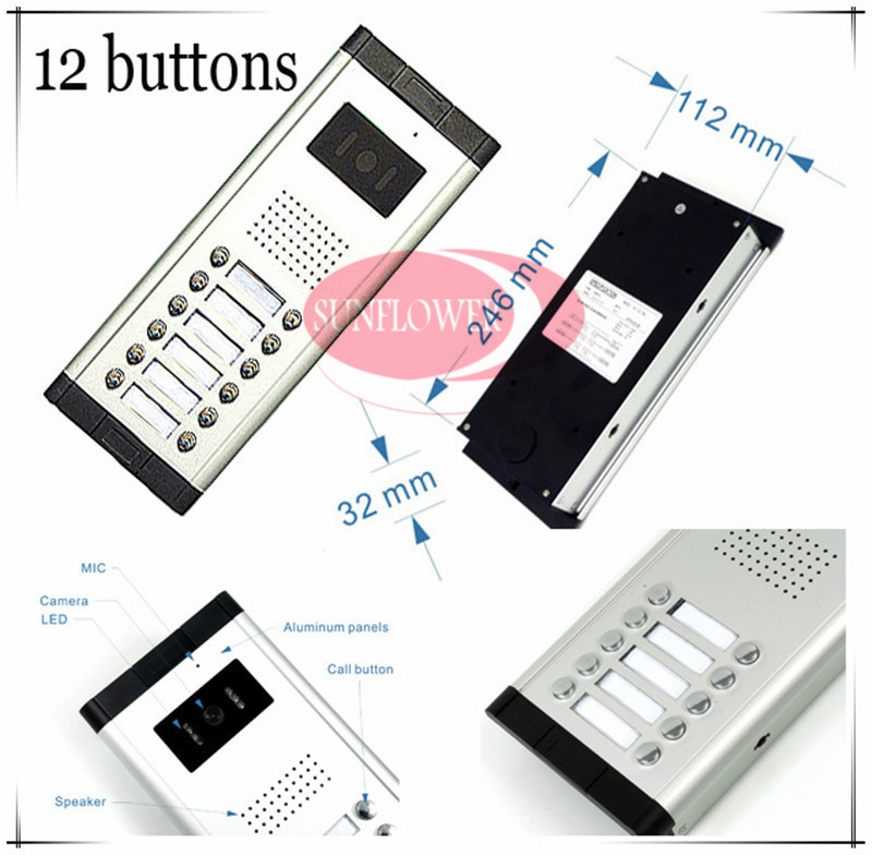 CCD lens outdoor camera Video door phones intercom systems door bells with 12 buttons for 12 apartments HD Camera Drop ship access control function video door phones intercom systems for 10 apartments with ten 7 lcd and 10 buttons outdoor camera