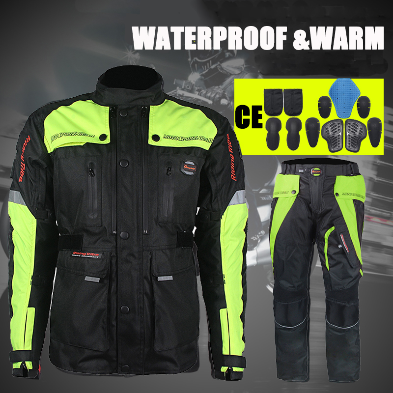 цена на Riding Tribe Waterproof Off Road Racing Motorcycle Jackets Warm Motocross Pants Protective Moto Clothes Clothing Trousers Suits