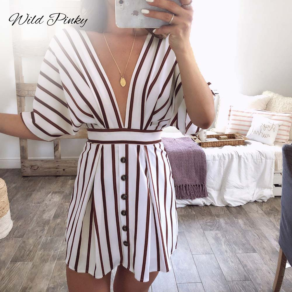 WildPinky Fashion Women Striped Print Dress Casual Deep V-neck Short Sleeve Button Backless Dresses Vintage Vestidos