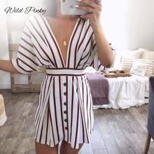 WildPinky Fashion Women Striped Print Dress Casual Deep V-neck Short Sleeve Button Backless Dresses Vintage Vestidos