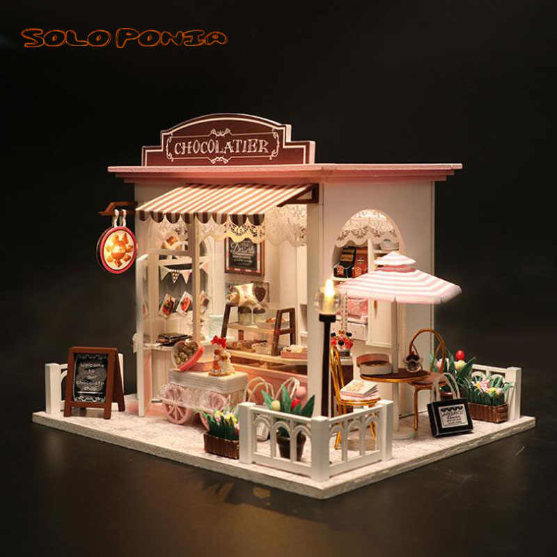 DIY Wooden House Miniaturas with Furniture DIY Miniature House Dollhouse Toys for Children Christmas and Birthday Gifts