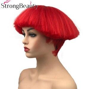 Image 2 - StrongBeauty קצר יקי ישר סינטטי פאות אדום/לבן/בלונדינית/שחור פטריות ראש פאה חום שיער עמיד