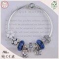Venda quente de Alta Qualidade Óculos Azuis Contas Encantos de Prata Série 925 Esterlina Sólida Pulseira de Prata