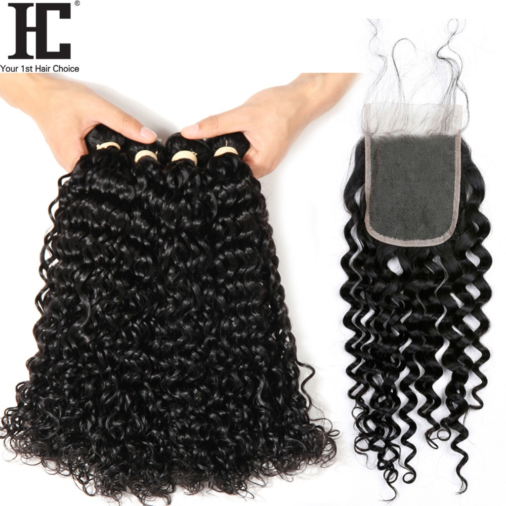 Malaysian Water Wave With Closure 3 Bundles HC Hair Weave Bundle Non Remy 4 Pcs/Lot Human Hair Extensions With 4x4 Lace Closure