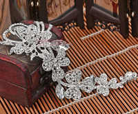 Plata/rojo cristal brillantes transparentes grandes largas cuatro hojas nupcial flor Tiaras de pelo para las mujeres joyería de la boda