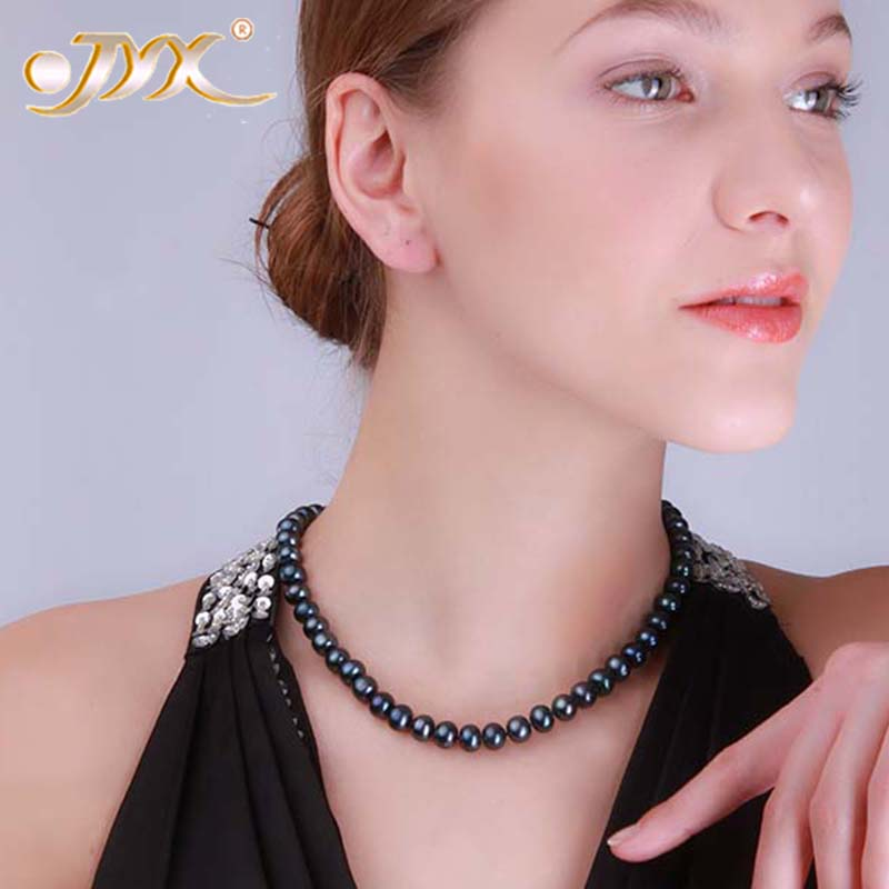 JYX Pearl Necklace for Women Classic 9-10mm Black Flat Round Cultured Freshwater Pearl Necklace 18 a suit of chic fake pearl rhinestoned round clover necklace and earrings for women page 9